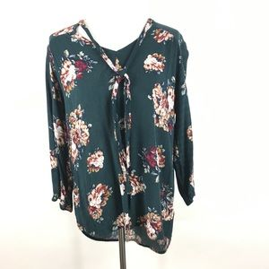 Staccato green floral tie neck blouse sz L